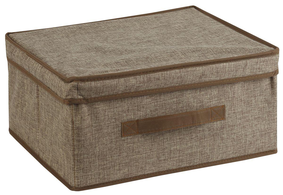 Короб для хранения White Fox Linen, с крышкой, цвет: бежевый, 46 х 33 х 25 см19201Короб для хранения White Fox Linen изготовлен из полиэстера стилизованного под лен. Для удобства в обращении имеется ручка. Короб имеет складную конструкцию.