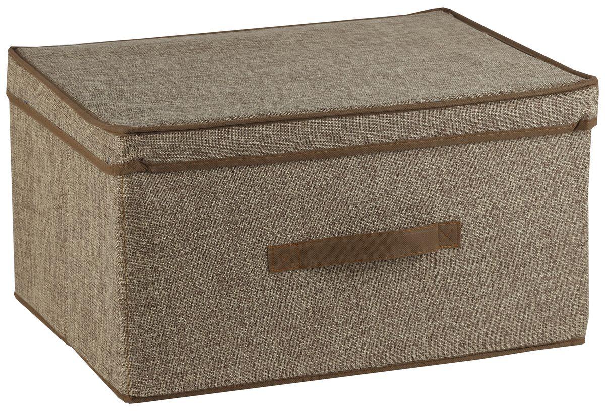 Короб для хранения White Fox Linen, с крышкой, цвет: бежевый, 43 х 33 х 22 смWHHH10-375Короб для хранения White Fox Linen изготовлен из полиэстера стилизованного под лен. Для удобства в обращении имеется ручка. Короб имеет складную конструкцию.