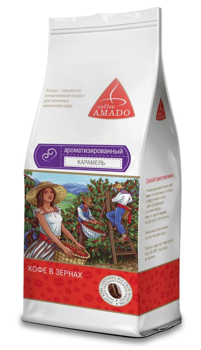 AMADO Карамель кофе в зернах, 200 г4607064130726AMADO Карамель - сочетание яркого насыщенного вкуса кофе со сладким ароматом карамели. Напиток производится на основе отборных зерен сорта арабика с добавлением натуральных ароматизаторов. Вкус получаемого напитка в полной мере соответствует его названию — он наполнен восхитительными нотами свежей карамели и ванили.