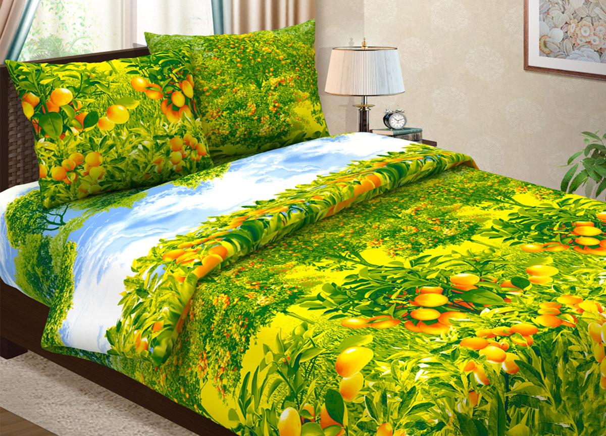 Комплект белья Primavera Мандариновая роща, 1,5-спальный, наволочки 70x70, цвет: желто-зеленый86797Наволочки с декоративным кантом особенно подойдут, если вы предпочитаете класть подушки поверх покрывала. Кайма шириной 5-10см с трех или четырех сторон делает подушки визуально более объемными, смотрятся они очень аккуратно, даже парадно. Еще такие наволочки называют оксфордскими или наволочками «с ушками». Сатин – прочная и плотная ткань с диагональным переплетением нитей. Хлопковый сатин по мягкости и гладкости уступает атласу, зато не будет соскальзывать с кровати. Сатиновое постельное белье легко переносит стирку в горячей воде, не выцветает. Прослужит комплект из обычного сатина меньше, чем из сатина повышенной плотности, но дольше белья из любой другой хлопковой ткани. Сатин приятен на ощупь, под ним комфортно спать летом и зимой. Производство «Примавера» находится в Китае, что позволяет сократить расходы на доставку хлопка. Поэтому цены на это постельное белье более чем скромные и это не сказывается на качестве. Сатин очень гладкий, мягкий, но при этом, невероятно прочный....