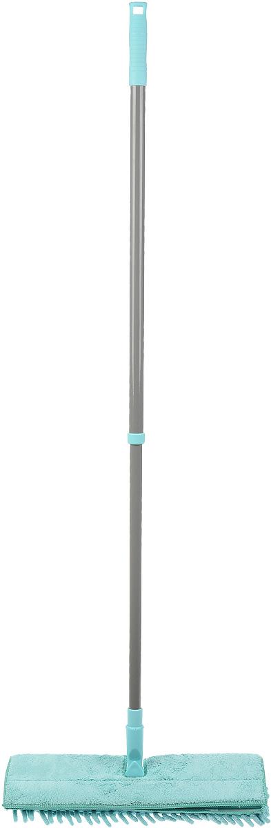 Швабра Home Queen Еврокласс, двухсторонняя, с телескопической ручкой, цвет: бирюзовый, серый, длина 72-126 см57981_бирюзовый, серыйШвабра Home Queen Еврокласс, выполненная из стали и полипропилена, идеально подходит для мытья всех типов напольных поверхностей: паркет, ламинат, линолеум, кафельная плитка. Материал насадки - шенилл (разновидность микрофибры) обладает высокой износостойкостью, не царапает поверхность и отлично впитывает влагу. Волокна микрофибры примерно в 100 раз тоньше человеческого волоса, а благодаря специальной технологии производства, каждое волокно расщепляется еще на 12-16 клиновидных нитей. Это дает микрофибре ряд существенных преимуществ перед натуральными волокнами, которые имеют круглое сечение. Благодаря своей структуре, шенилловая насадка отлично моет углы. Телескопический механизм ручки позволяет выбрать необходимую вам длину, а также сэкономить место при хранении. Насадку можно стирать вручную или в стиральной машине с мягким моющим средством без использования кондиционера и отбеливателя. Длина ручки: 72-126 см....