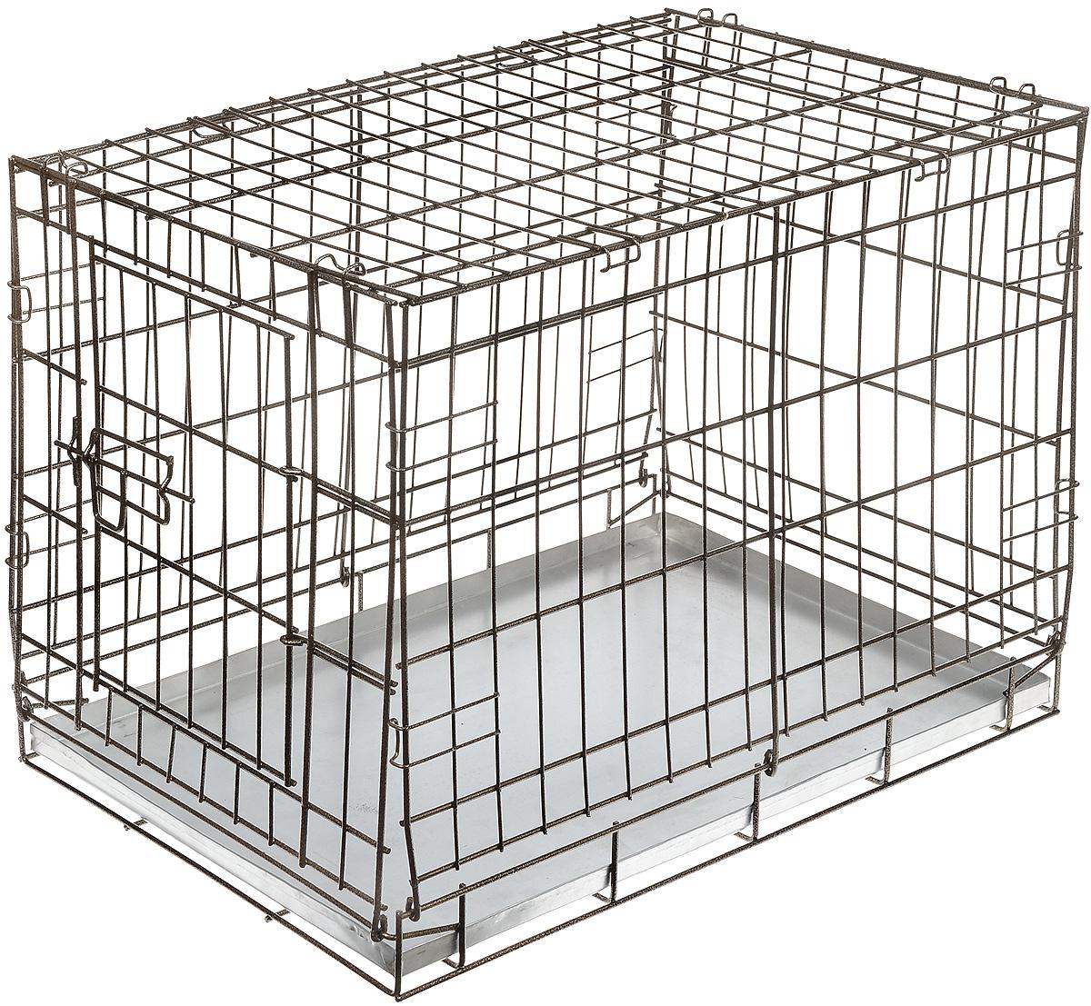 Клетка для собак ЗооМарк, выставочная, 60 х 40 х 45 см, цвет шагрень1004Удобная клетка ЗооМарк предназначена для собак средних пород. Идеально подходит для транспортировки и содержания собак во время проведения выставки. Клетка выполнена из металлической проволоки. Клетка оснащена дверцей, которая надежно закрываются на замки. Прочный жестяной поддон не повреждает поверхность, на которой размещается.