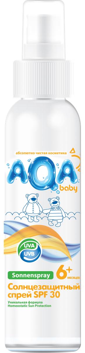AQA baby Солнцезащитный спрей SPF 30, 150 мл02012401Спрей надежно защищает нежную кожу даже самых маленьких детей от воздействия солнечных лучей. Инновационная формула (Homeostatic Sun Protection) обеспечивает: - улучшенный биосинтез витамина D; - двойную защиту от UVA- лучей; - профилактику старения кожи. Спрей легко наносится и быстро впитывается, не оставляя ощущения липкости. Содержит пантенол, который увлажняет кожу и препятствует сухости и шелушению.