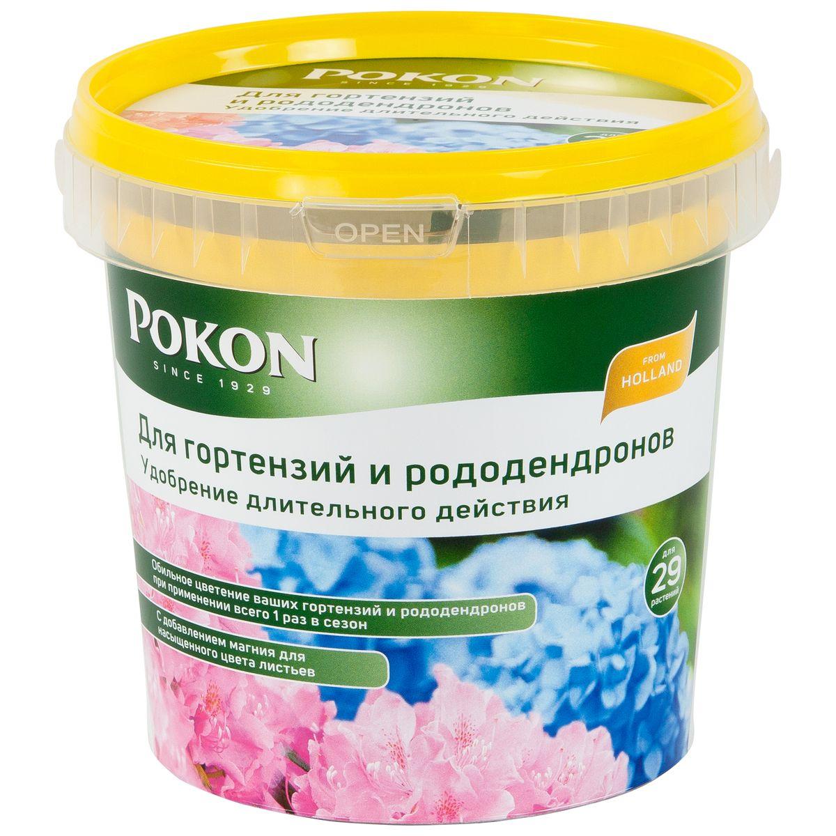 Удобрение Pokon для гортензий и рододендронов длительного действия, 900 г8711969016132Удобрение Pokon для гортензий и рододендронов длительного действия: NPK 19 + 5 + 23 с добавкой 2 MgO + 12 SO3. Это удобрение содержит все необходимое для обильного и частого цветения гортензий и рододендронов. Достаточно внести его один раз, и затем питательные вещества будут постепенно высвобождаться и проникать в растения в течение сезона под воздействием дождей и солнца. Магниевая добавка придает гортензиям и рододендронам яркую и насыщенную окраску. Инструкция по применению: - Вносите удобрение 1 раз в год, желательно весной или при посадке растений. - Отмерьте нужное количество гранул в соответствии с прилагаемой таблицей. - Равномерно насыпьте гранулы вокруг стеблей. - Смешайте гранулы с верхним слоем грунта. - Полейте грунт, и удобрение немедленно начнет действовать. - Не используйте при температуре выше +25 градусов и под прямыми солнечными лучами. Состав: 19% — общее содержание азота (N); 5,4% — нитратный азот; ...