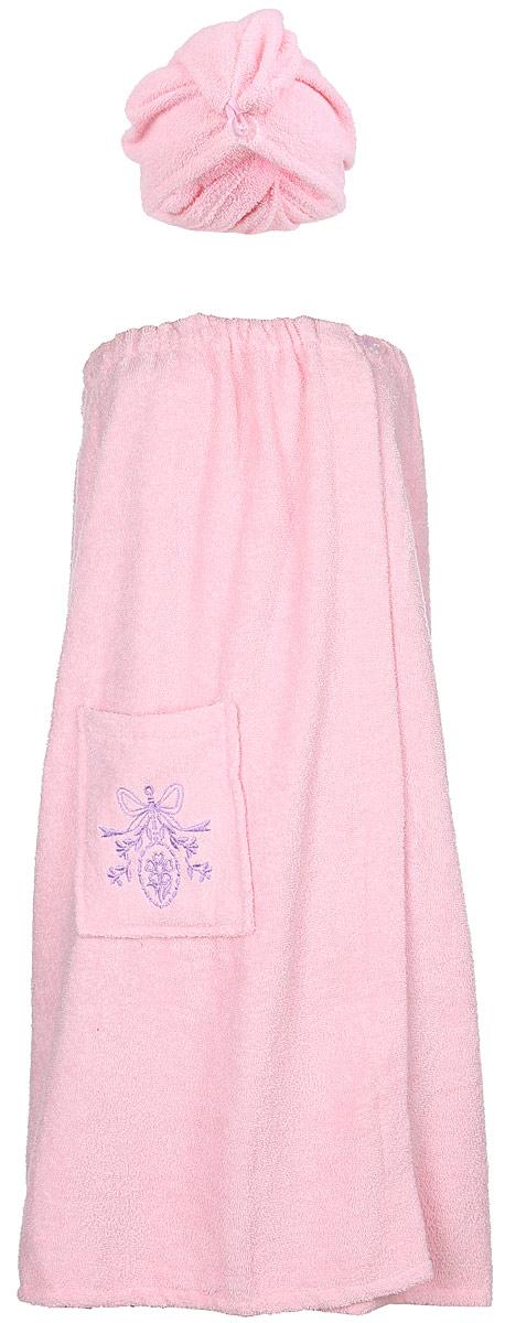 Набор для бани Soavita, цвет: розовый, 2 предмета56843Махровое полотно создается из хлопковых нитей, которые, в свою очередь, прядутся из множества хлопковых волокон. Чем длиннее эти волокна, тем прочнее будет нить, и, соответственно, изделие. Длина составляющих хлопковую нить волокон влияет и на фактуру получаемой ткани: чем они длиннее, тем мягче и пушистее получится махровое изделие, тем лучше будет впитывать изделие воду. Хотя на впитывающие качество махры – ее гигроскопичность, не в последнюю очередь влияет состав волокна. Мягкая махровая ткань отлично впитывает влагу и быстро сохнет. Soavita – это популярный бренд домашнего текстиля. Дизайнерская студия этой фирмы находится во Флоренции, Италия. Производство перенесено в Китай, чтобы сделать продукцию более доступной для покупателей. Таким образом, вы имеете возможность покупать продукцию европейского качества совсем не дорого. Домашний текстиль прослужит вам долго: все детали качественно прошиты, ткани очень плотные, рисунок наносится безопасными для здоровья красителями, не...