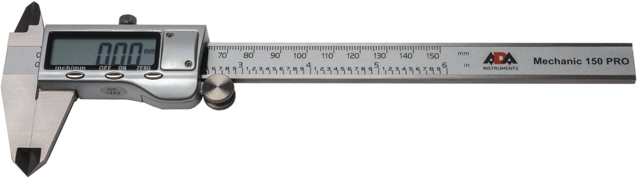 Штангенциркуль цифровой ADA Mechanic 150 PRO80621Цифровой штангенциркуль ADA Mechanic 150 Pro используется для проведения как наружных, так и внутренних измерений различных изделий или заготовок. Измерения производятся с высокой точностью ±0.03 мм. Результаты отображаются на ЖК дисплее с точностью до тысячных. Нажатием кнопки можно перевести миллиметры в дюймы. Результаты измерения отражаются на ЖК экране крупными цифрами.В любом положении подвижной рамки можно обнулить значение и начать измерения от этого положения. Например при определении разницы между диаметрами двух деталей.Включение штангенциркуля происходит автоматически при сдвиге рамки. Подвижная рамка имеет специальное колесико для точной установки и винтовой фиксатор.ADA Mechanic 150 Pro полностью изготовлен из нержавеющей стали.Цифровой штангенциркуль ADA Mechanic 150 Proточный и качественный ручной измерительный инструмент.Длина измерения: 0-150 ммРазрешение: 0.01ммТочность: ±0.03 ммПитание: 1х SR44
