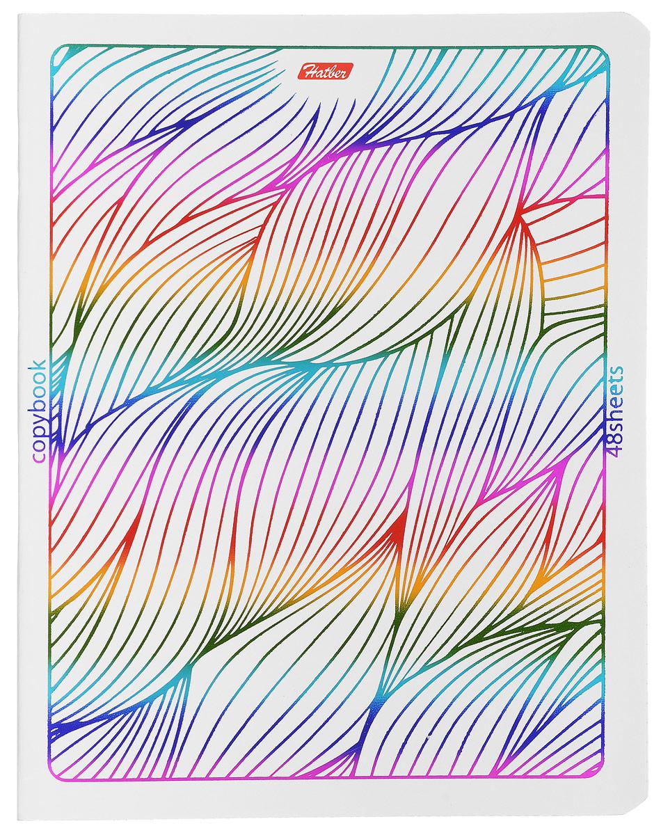 Hatber Тетрадь Rainbow 48 листов в клетку 1453248Т5фВ1_14532Тетрадь Hatber Rainbow отлично подойдет для занятий школьнику, студенту или для различных записей. Обложка, выполненная из плотного картона, украшена тиснением фольгой. Игра разноцветных металлизированных переливов в сочетании с оригинальными узорами дарит тетрадке магический эффект. Внутренний блок тетради, соединенный двумя металлическими скрепками, состоит из 48 листов белой бумаги в голубую клетку с полями.