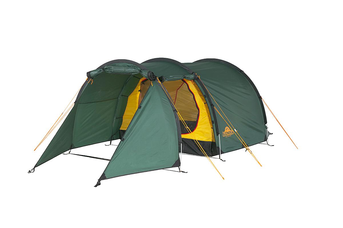 Палатка Alexika Tunnel 3 GreenАМNB-503Tunnel 3 - трехместная палатка, выполненная в форме полубочки и рассчитанная на использование при плюсовой температуре воздуха. Характерная отличительная черта Tunnel 3 - это огромный тамбур, где можно укрыть от непогоды велосипеды и вещи всех обитателей палатки, а при необходимости - использовать его как место для приготовления пищи. Большое внимание производитель уделил сопротивляемости конструкции палатки негативным воздействиям: прочная стропа по краю тента, дополнительное усиление ткани в зонах повышенной нагрузки, герметизация швов и антипиреновая пропитка, тормозящая процесс горения. Кроме того, углы внутренней палатки выполнены по бесшовной технологии, что также увеличивает прочность тента. Тент имеет показатель влагозащиты 4000 мм, а пол - 6000 мм, что позволяет вам оставаться сухими даже в сильный ливень. Из «бытовых удобств» у Tunnel 3 следует отметить 3 входа, оборудованных противомоскитной сеткой, кольцо для фонаря по центру потолка, откидную полку для мелочевки и 6 карманов во внутренней палатке. Вентиляцию обеспечивают расположенные в торцах палатки клапаны, также оборудованные антимоскитной сеткой. При своих габаритах палатка обладает сравнительно небольшим весом и неплохой ветроустойчивостью, а также занимает немного места в собранном виде. Вес: 4,7 кг. Количество мест: 3. Сезонность: весна-осень. Размер: 410 x 180 x 120 см. Размер в чехле: 18 x 50 см. Материал тента: Polyester 190T PU 4000 mm. Материал дна: Polyester 150D Oxford PU 6000 mm. Внутренняя палатка: есть. Материал дуг: Alu 8.5 mm. Ветроустойчивость: средняя. Количество входов: 2. Цвет: зеленый. Область применения: трекинг. Технологии:Пропитка, задерживающая распространение огня. Швы герметизированы термоусадочной лентой. Узлы палатки, испытывающие высокие нагрузки, усилены более прочной тканью. Край тента обшит прочной стропой. Молнии на внешнем тенте фиксируются алюминиевым крючком. Внутренняя палатка оснащена противомоскитной сеткой, шестью кармана