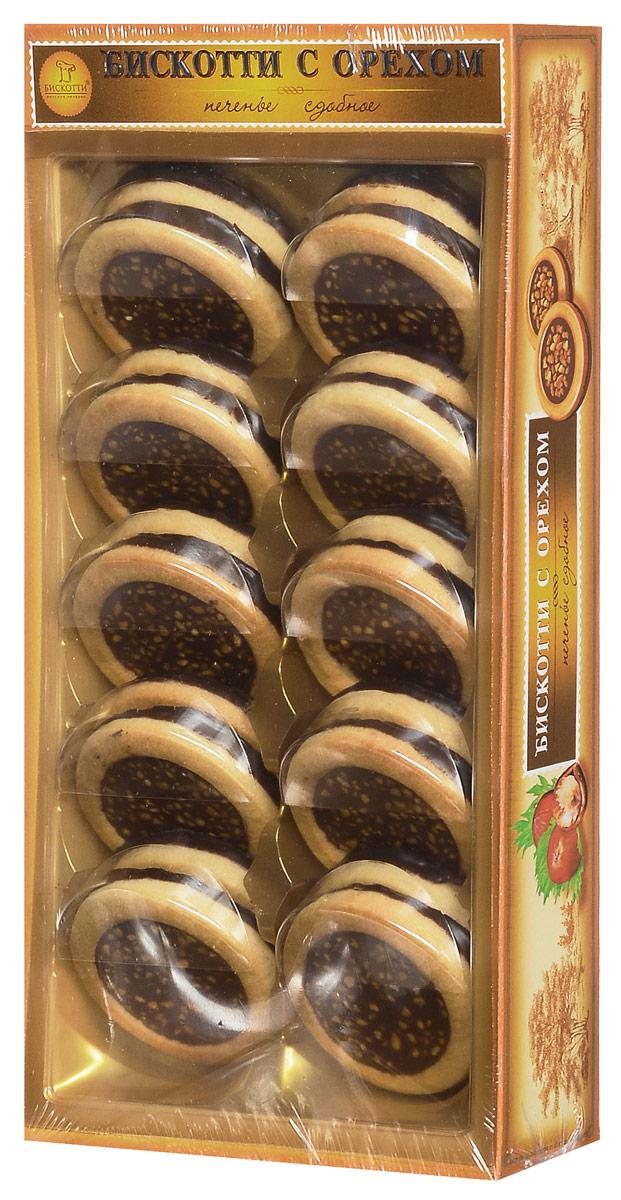 Бискотти печенье сдобное с орехом, 245 г0120710Тертый фундук входит и в состав теста, и в состав тающей во рту шоколадно-ореховой начинки. Сверху печенье посыпано дробленым орехом, обжаренным в карамели, а его донышко покрыто шоколадной глазурью.