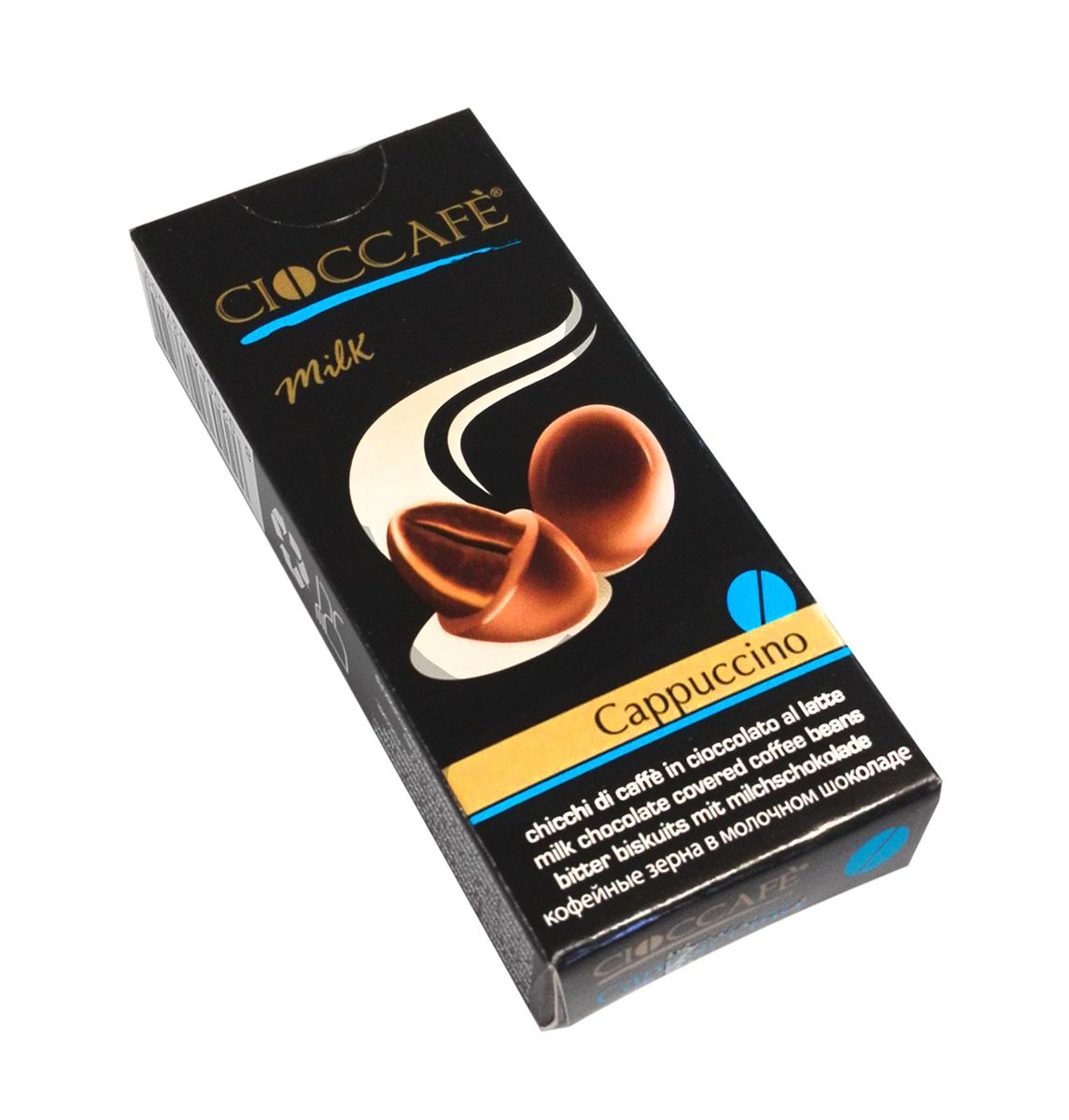 """Cioccafe Капучино кофейные зерна в молочном шоколаде, 25 г45010Драже """"Cioccafe"""" - обжаренные кофейные зерна, покрытые шоколадом. Необычная комбинация кофейных зерен и шоколада выделяет этот продукт среди других товаров."""