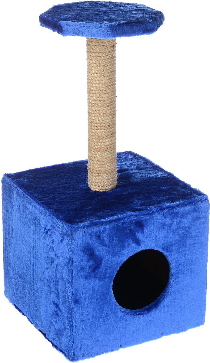 Домик-когтеточка ЗооМарк Квадрат, с полкой, цвет: синий, бежевый, 36 х 36 х 75 см0120710Домик-когтеточка ЗооМарк выполнен из высококачественного дерева и искусственного меха. Изделие предназначено для кошек. Ваш домашний питомец будет с удовольствием точить когти о специальный столбик, изготовленный из джута. А отдохнуть она сможет либо на площадке, находящейся наверху столбика, либо в расположенном внизу домике.Размер полки: 25 х 25 см.