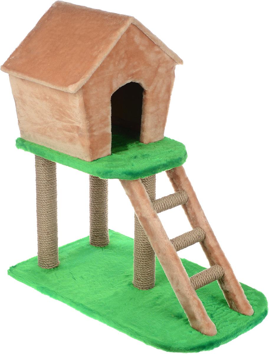 Домик-когтеточка ЗооМарк, с лестницей, цвет: бежевый, зеленый, 75 х 45 х 85 см115Домик-когтеточка ЗооМарк выполнен из высококачественного дерева и искусственного меха. Изделие предназначено для кошек. Ваш домашний питомец будет с удовольствием точить когти о специальные столбики, изготовленные из джута. А отдохнуть он сможет в домике на втором этаже, до которого можно добраться по лестнице. Общий размер изделия: 75 х 45 х 85 см. Размер домика: 45 х 33 х 41 см.