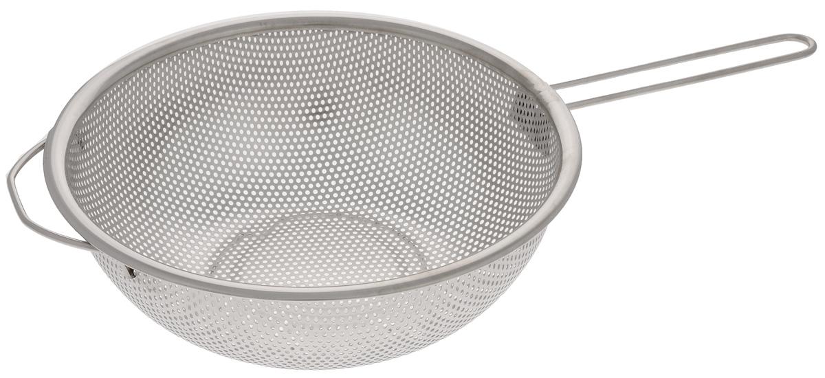 Дуршлаг Mayer & Boch, диаметр 25 см. 2360223602Дуршлаг Mayer & Boch изготовлен из высококачественной нержавеющей стали. Изделие снабжено ручкой и ножками для удобства использования. Такой дуршлаг идеален для процеживания ягод, спагетти, салата, овощей и других продуктов. Дуршлаг Mayer & Boch станет незаменимым аксессуаром на вашей кухне и придется по душе любой хозяйке. Диаметр по верхнему краю: 25 см. Диаметр основания: 12 см. Высота дуршлага (с учетом ножек): 10 см.