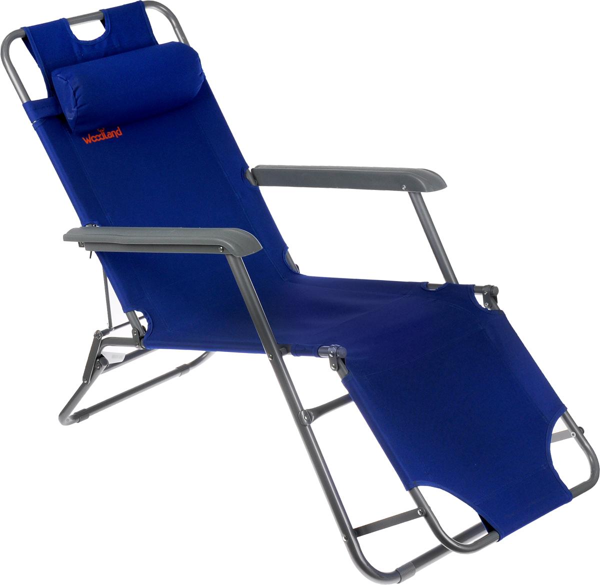 Кресло складное Woodland Lounger Oxford, цвет: синий, серый, 153 см х 60 см х 79 см09840-20.000.00Складное кресло Woodland Lounger Oxford предназначено для создания комфортных условий в туристических походах, рыбалке и кемпинге.Особенности:Компактная складная конструкция.Прочный стальной каркас с покрытием, диаметр 19/25 мм.Прочная ткань Oxford обладает высокой износостойкостью.