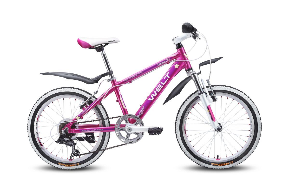 Детский велосипед Welt Edelweiss 20, цвет: пурпурный, фиолетовыйMHDR2G/AОтличный выбор для девочек 6-8 лет. Алюминиевая рама с трубами сложного сечения обеспечивает высочайший уровень безопасности, а дизхайнерские решения в лучших традициях европейской школы, завоевавшей вкусы потребителей, придутся по душе как юным владелицам, так и их родителям. Яркие расцветки и стильные дополнительные элементы в цвет дизайна никого не оставят равнодушными. Амортизационная вилка и 7 скоростная трансмиссия Shimano добавят комфорта катанию, а подножка и крылья являются отличным дополнением к потребительским качествам этой модели Рама: Alloy 6061Размер рамы, дюймы: one sizeДиаметр колес: 20Кол-во скоростей: 7Тип вилки: амортизационнаяВилка: WELT ES-245 73 mmПер. переключатель: нетЗад. Переключатель: Shimano TY-21Шифтеры: Shimano RS-35 R 7spdТип тормозов: V-brakeТормоза: CB-141Система: 42/34/24 T 152mmКаретка: semi-cartridgeКассета: TriDaimond FW217BТип рулевой колонки: 1-1/8 безрезьбоваяВынос: alloy, A-Head, 80mmРуль: steel low rise Ф25,4 560mmОбодья: alloy, double wallПокрышки: Wanda P1197 20x1,95Втулки: YS w/QRПодседельный штырь: steel Ф27,2 300mmЦепь: KMC Z33Подножка: боковая, к рамеКрылья: якорь/подседельник