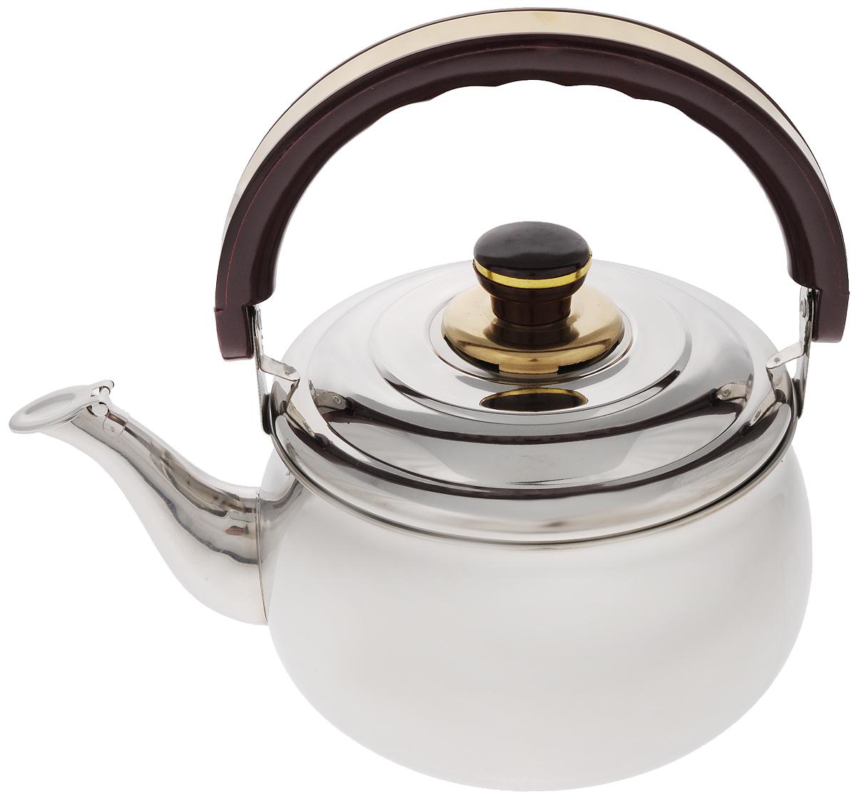 Чайник Mayer & Boch, со свистком, 3 л. 10361036Чайник Mayer & Boch изготовлен из высококачественной нержавеющей стали с зеркальной полировкой. Крышка чайника оснащена свистком, что позволит контролировать процесс подогрева или кипячения воды. Подвижная бакелитовая ручка имеет эргономичную форму, обеспечивая дополнительное удобство при разлитии напитка. Широкое верхнее отверстие позволит удобно налить воду. Чайник подходит для использования на электрических, газовых, стеклокерамических плитах. Можно мыть в посудомоечной машине. Диаметр чайника по верхнему краю: 18 см. Высота чайника (без учета ручки и крышки): 11 см.
