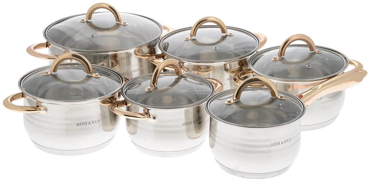 Набор посуды Mayer & Boch, 12 предметов. 2515825158Набор посуды Mayer & Boch состоит из 5 кастрюль с крышками и сотейника с крышкой. Посуда выполнена из высококачественной нержавеющей стали с усиленным индукционным дном. Внешняя поверхность посуды с зеркальной полировкой декорирована матовыми полосками. Нержавеющая сталь - это экологически чистый, безопасный для здоровья материал, который не вступает в реакцию с продуктами и не искажает вкус приготовленных блюд. Изделия снабжены крышками из термостойкого стекла с паровыпуском и металлическим ободом, а также удобными ненагревающимися стальными ручками золотого цвета, что придает посуде роскошный внешний вид. Многослойное дно обеспечит быстрый нагрев продуктов и надолго сохранит тепло. Посуда подходит для использования на всех типах плит, включая индукционные. Подходит для мытья в посудомоечной машине. Диаметр кастрюль (по верхнему краю): 16 см; 18 см; 18 см; 20 см; 24 см. Высота стенки кастрюль: 10,5 см; 11,5 см; 11,5 см; 12,5 см; 14,5 см. Объем...
