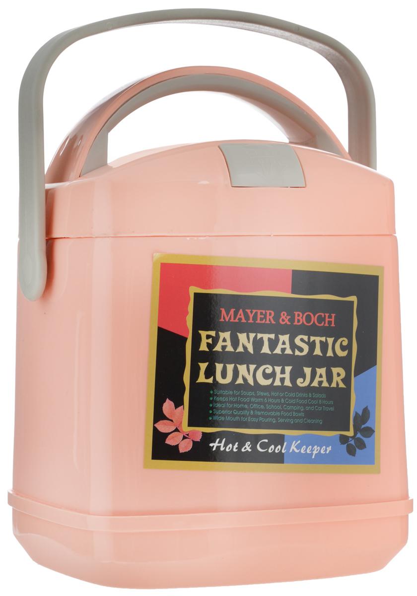 Термос пищевой Mayer & Boch Fantastic Lunch Jar, с контейнером, цвет: персиковый, 1,9 л115510Термос пищевой Mayer & Boch Fantastic Lunch Jar предназначен для длительного хранения горячих и холодных блюд. Изделие сохраняет тепло до 6 часов, а холод - до 8. Термос способен сохранять горячую или холодную температуру при температуре окружающей среды не ниже 18°С и температуре жидкости при заполнении не ниже +99+-1°С. Корпус термоса выполнен из цветного пищевого полипропилена (пластика). Внутренняя колба изготовлена из нержавеющей стали - материала, который не вступает в реакцию с продуктами и не искажает вкус приготовленных блюд. Данный термос обладает не только прекрасными термоизоляционными качествами, но и непревзойденной надежностью. Благодаря эргономичной форме и удобным ручкам, его удобно транспортировать. Широкое отверстие позволяет удобно заполнять термос. В наборе также поставляется съемная емкость из нержавеющей стали, а также металлические ложка и вилка, которые хранятся в специальном футляре в крышке термоса. Такой термос идеально подойдет для обедов на работе или отдыха на природе. Диаметр отверстия термоса (по верхнему краю): 14 см. Длина ложки/вилки: 14 см. Диаметр контейнера: 14 см. Высота стенки контейнера: 5 см.