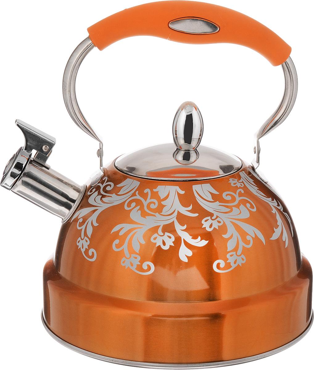 Чайник Mayer & Boch, со свистком, цвет: стальной, оранжевый, 3,5 л. 24887VT-1520(SR)Чайник Mayer & Boch - это сочетание традиций и ультрасовременных материалов. Чайник выполнен из высококачественной нержавеющей стали 18/10. Внешнее термостойкое лаковое покрытие облегчает уход и обеспечивает привлекательный внешний вид долгое время. Оригинальные узоры на корпусе сделают чайник ярким элементом интерьера кухни. Подвижная ручка чайника снабжена пластиковой вставкой с силиконовым покрытием, это позволяет с легкостью снимать горячий чайник без прихваток. Капсулированное дно обеспечивает быстрый нагрев и сохранение температуры воды. Чайник оснащен откидным свистком, который громким сигналом подскажет, когда вода закипела. Подходит для всех типов плит, кроме индукционных. Можно мыть в посудомоечной машине. Диаметр отверстия (по верхнему краю): 10 см. Диаметр основания: 22 см. Высота (без учета ручки): 13 см.