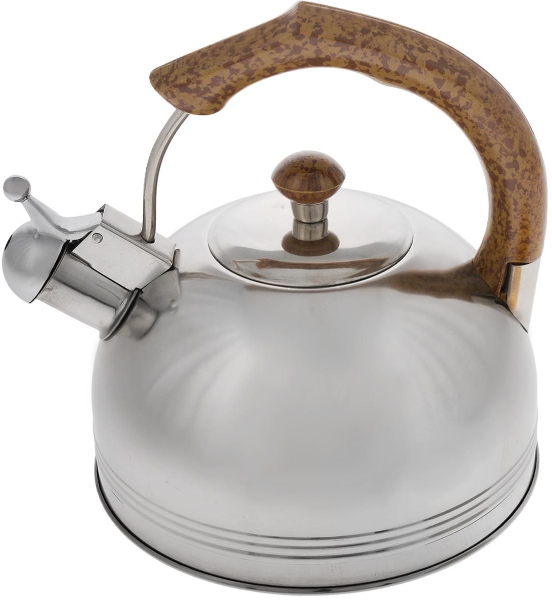 Чайник Mayer & Boch, со свистком, 3 л. 60876087Чайник Mayer & Boch выполнен из высококачественной нержавеющей стали, что делает его весьма гигиеничным и устойчивым к износу при длительном использовании. Капсулированное дно с прослойкой из алюминия обеспечивает наилучшее распределение тепла. Носик чайника оснащен насадкой-свистком, что позволит вам контролировать процесс подогрева или кипячения воды. Фиксированная ручка, изготовленная из бакелита в цвет дерева, делает использование чайника очень удобным и безопасным. Поверхность чайника гладкая, что облегчает уход за ним. Эстетичный и функциональный, с эксклюзивным дизайном, чайник будет оригинально смотреться в любом интерьере. Подходит для всех типов плит, кроме индукционных. Можно мыть в посудомоечной машине. Высота чайника (без учета ручки и крышки): 11,5 см. Высота чайника (с учетом ручки): 22 см. Диаметр чайника (по верхнему краю): 8,5 см.