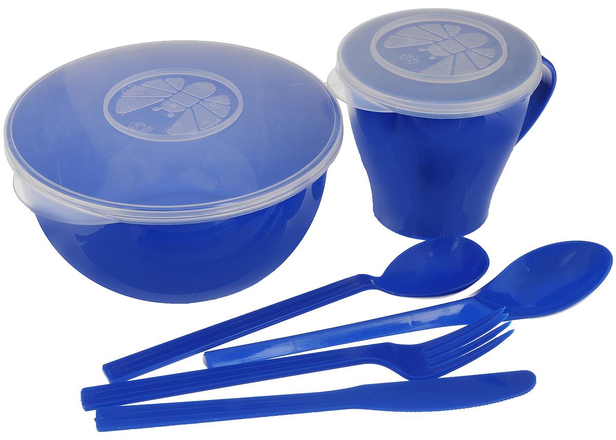 """Набор посуды Solaris """"Походный"""", цвет: синий, на 1 персону S1104"""