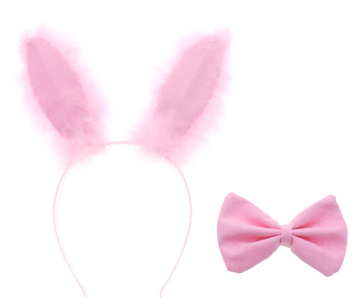 Partymania Ободок Заячьи ушки с бабочкой цвет розовый