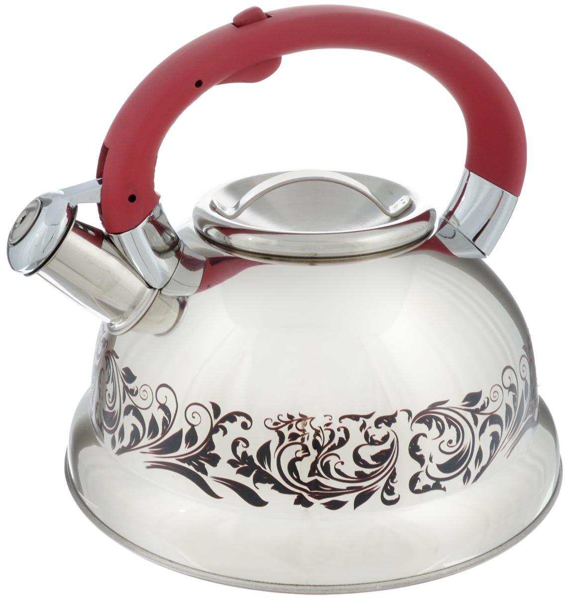 Чайник Mayer & Boch, со свистком, цвет: стальной, бордовый, 2,6 л. 2341494672Чайник Mayer & Boch выполнен из высококачественной нержавеющей стали, что обеспечивает долговечность использования. Изделие оформлено изящным рисунком, который одновременно является и индикатором цвета - при нагревании рисунок на корпусе меняет цвет. Ручка из бакелита с покрытием soft-touch делает использование чайника очень удобным и безопасным. Чайник снабжен свистком и кнопкой для открывания носика. Пригоден для использования на всех видах плит, включая индукционные. Можно мыть в посудомоечной машине.Диаметр чайника по верхнему краю: 10 см.Высота чайника (без учета ручки): 11 см.Высота чайника (с учетом ручки): 20,5 см.
