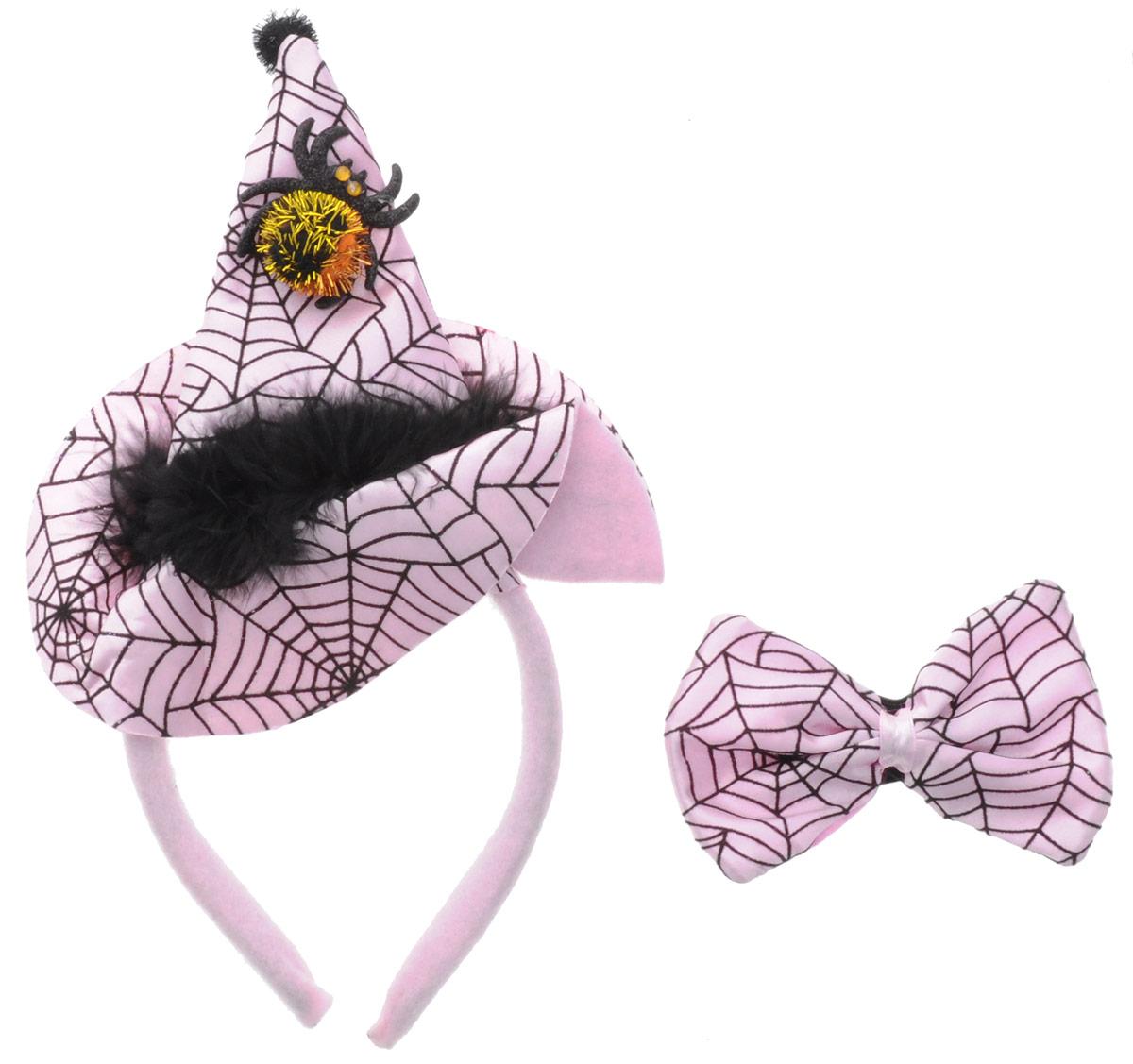 Partymania Ободок Шляпа Ведьмочки с бабочкой цвет розовый черный