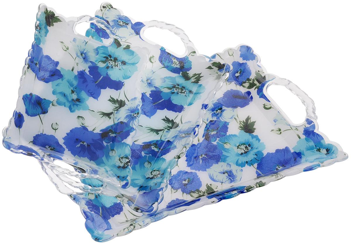 Набор подносов Mayer & Boch Синие маки, 3 шт3239Оригинальный набор Mayer & Boch Синие маки состоит из трех подносов разного размера, оснащенных удобными ручками. Изделия выполнены из высококачественного пластика и имеют рельефную окантовку по краю. Подносы отлично подойдут для красивой сервировки различных блюд, закусок и фруктов на праздничном столе. Набор подносов Mayer & Boch Синие маки станет отличным подарком на любой праздник. Размер малого подноса (с учетом ручек): 28 х 18,5 х 3,5 см. Размер среднего подноса (с учетом ручек): 36 х 24 х 3,5 см. Размер большого подноса (с учетом ручек): 44 х 29 х 3,5 см.