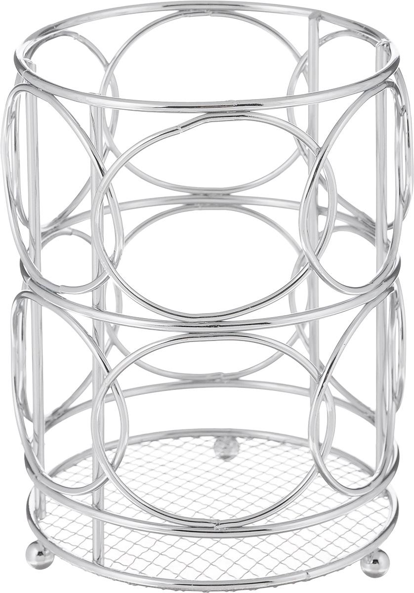 Подставка для столовых приборов Mayer & Boch, 12 х 12 х 16,8 см3416Круглая подставка для столовых приборов Mayer & Boch, изготовленная из хромированного металла, имеет три круглые ножки, которые обеспечивают ей устойчивость на любой поверхности. Красивая подставка для столовых приборов выполнена в футуристическом дизайне. Она не займет много места, а столовые приборы будут всегда под рукой. Диаметр дна подставки: 12 см. Высота подставки: 16 см.