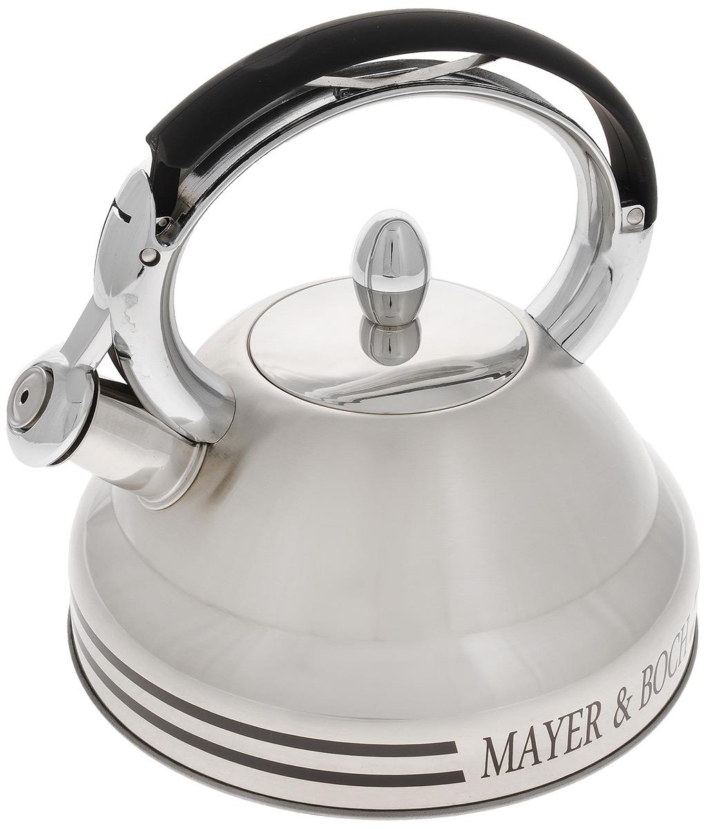 Чайник Mayer & Boch, со свистком, 2,7 л. 2241522415Чайник Mayer & Boch выполнен из нержавеющей стали высокой прочности. При кипячении сохраняет все полезные свойства воды. Весьма гигиеничен и устойчив к износу при длительном использовании. Гладкая и ровная поверхность существенно облегчает уход за посудой. Чайник оснащен свистком, который громко оповестит о закипании воды. Ручка чайника изготовлена из пластика с покрытием Soft-Touch. Такой чайник идеально впишется в интерьер любой кухни и станет замечательным подарком к любому случаю. Подходит для газовой плиты, не подходит для индукционной. Диаметр чайника (по верхнему краю): 9 см. Высота чайника (с учетом ручки): 22,5 см. Высота чайника (без учета ручки и крышки): 11 см.