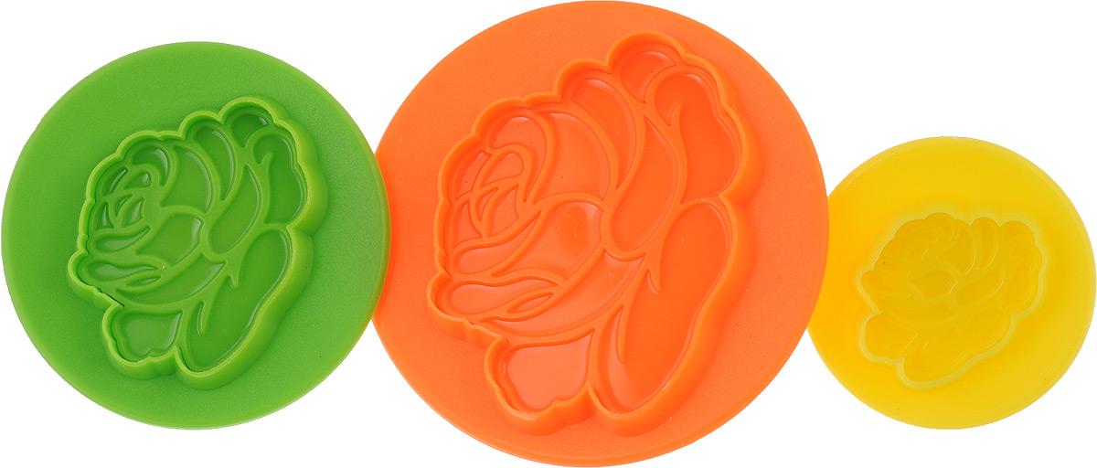 24013 Набор форм для выпечки 3пр ЦВЕТОК МВ цвет желтый оранжевый зеленый2401324013 Набор форм для выпечки 3пр ЦВЕТОК МВ 25,5х21х11 см