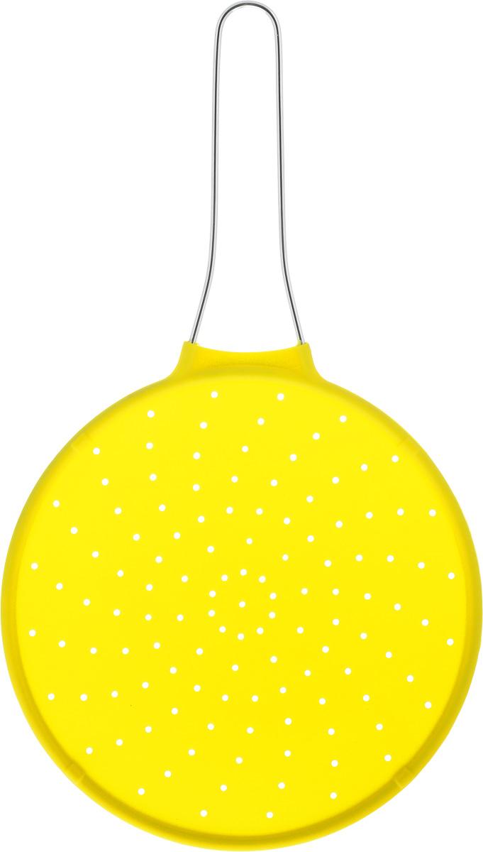 Экран от брызг Mayer & Boch, цвет: желтый, диаметр 24 см94672Экран от брызг Mayer & Boch изготовлен из экологически чистого материала - высококачественного силикона. Удобная ручка выполнена из металла. Выдерживает температурный диапазон от - 40 до +210°С. Просто положите экран сверху на посуду с готовящейся пищей, это предотвратит попадание брызг на поверхность плиты, одежду и кухонную мебель. Изделие легко моется и хранится. Простое и удобное использование. Диаметр: 24 см. Длина (с учетом ручки): 42 см.