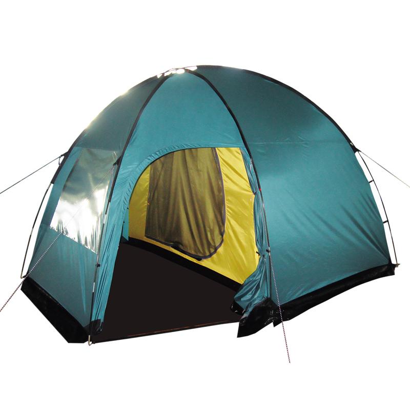Палатка Тramp Bell 4, цвет: зеленыйa026124Двухслойная кемпинговая палатка Tramp Bell 3 оснащена с двумя входами и большим тамбуром. Внешний тент палатки устойчив к ультрафиолетовому излучению и имеет пропитку, задерживающую распространение огня. Вход спального отделения продублирован москитной сеткой. Во внешнем тенте вход в тамбур также продублирован москитной сеткой. Тент палатки оборудован юбкой. Имеется большое вентиляционное окно. Все швы проклеены. Съемный пол выполнен из материала терпаулинг. Каркас изготовлен из Durapol 11 мм.Размер спального места: 220 х 260 см.Размер тамбура: 140 x 240 см.