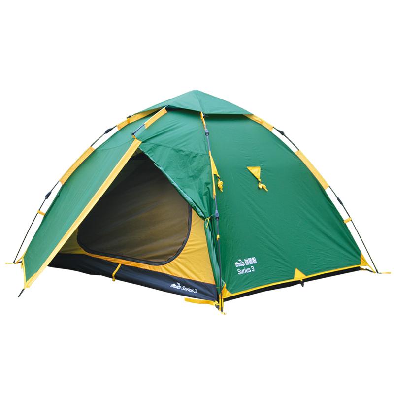 Палатка Тramp Siruis 3, цвет: зеленый800802Двухслойная палатка Тramp Siruis 3 с двумя входами устанавливается всего за одну минуту. Внешний тент палатки устойчив к ультрафиолетовому излучению и имеет пропитку, задерживающую распространение огня. Два тамбура на дуге коромысло. В куполе палатки расположено вентиляционное окно. Светоотражающие оттяжки, все швы проклеены. Палатка идеальна для автотуристовРазмер спального места: 180 х 210 см.Размер тамбура: 90 + 90 см.