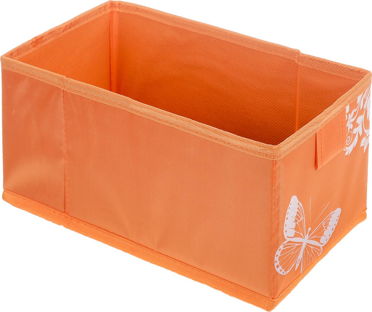 Коробка для хранения Hausmann Butterfly, цвет: оранжевый, 13 х 27 х 12,5 см4P-107-M4С_оранжевыйКоробка для хранения Hausmann Butterfly поможет легко организовать пространство в шкафу или в гардеробе. Изделие выполнено из нетканого материала и полиэстера. Коробка держит форму благодаря жесткой вставке из картона, которая устанавливается на дно. Боковая поверхность оформлена красивым принтом с изображением бабочек. В такой коробке удобно хранить нижнее белье, ремни и различные аксессуары.