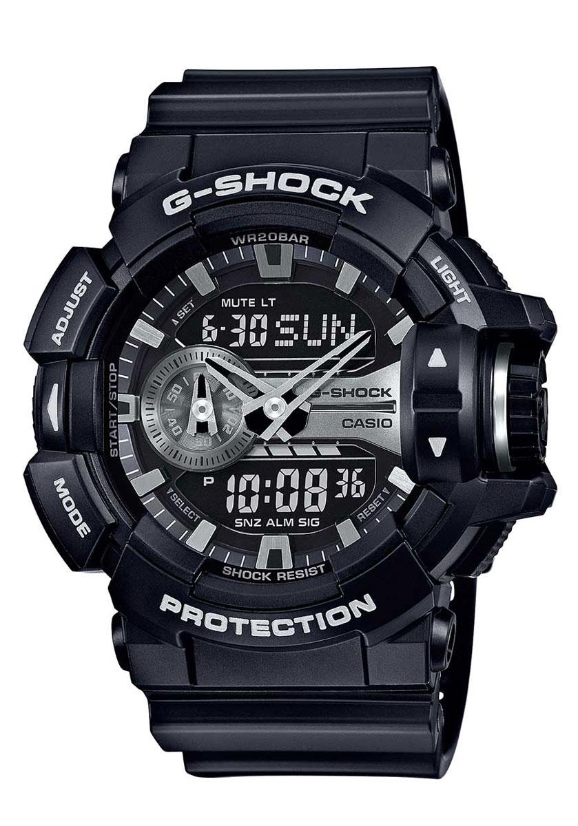 Часы наручные мужские Casio G-Shock, цвет: черный, титан. GA-400GB-1AINT-06501Электрическая светодиодная подсветка с функцией автоматической подсветки при наклоне часов к лицу. Отображение текущего времени в основных городах и регионах мира. Секундомер с точностью показаний 1/100 сек и максимальным временем измерения - 24 час. Таймер обратного отсчёта, 5 ежедневных будильников. Функция повтора сигнала будильника (Snooze). Автоматический календарь. Отображение времени в 12-ти и 24-х часовом формате времени. Включение/отключение звука. Особая ударопрочная конструкция защищает от ударов и вибрации. Магнитоустойчивость по 1 разряду Японского промышленного стандарта (Соответствует стандарту MOC-ISO 764) обеспечивает устойчивость к воздействию магнитных полей. Пластиковый корпус. Габаритные размеры: 55x51,9x18,3 мм. Минеральное стекло устойчивое к возникновению царапин. Ремешок из полимерного материала. Точность хода: не хуже +/-15 секунд в месяц. Срок службы батареи 3 года. Водозащита 20 АТМ.