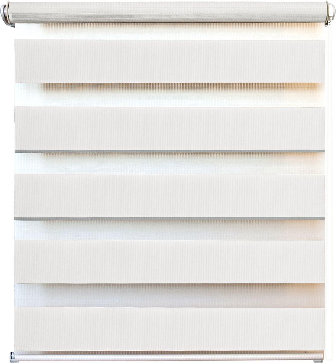 Штора рулонная день/ночь Уют Канзас, цвет: белый, 60 х 160 см62.РШТО.8920.060х160Штора рулонная день/ночь Уют Канзас выполнена из прочного полиэстера, в котором чередуются полосы различной плотности и фактуры. Управление двойным слоем ткани с помощью цепочки позволяет регулировать степень светопроницаемости шторы. Если совпали плотные полосы, то прозрачные будут открыты максимально. Это положение шторы называется День. Максимальное затемнение помещения достигается при полном совпадении полос разных фактур. Это положение шторы называется Ночь. Конструкция шторы также позволяет полностью свернуть полотно, обеспечив максимальное открытие окна. Рулонная штора - это разновидность штор, которая закрывает не весь оконный проем, а непосредственно само стекло. Такая штора очень компактна, что помогает сэкономить пространство. Универсальная конструкция позволяет монтировать штору на стену, потолок, деревянные или пластиковые рамы окон. В комплект входят кронштейны и нижний утяжелитель. Возможна установка с управлением цепочкой как справа, так и...