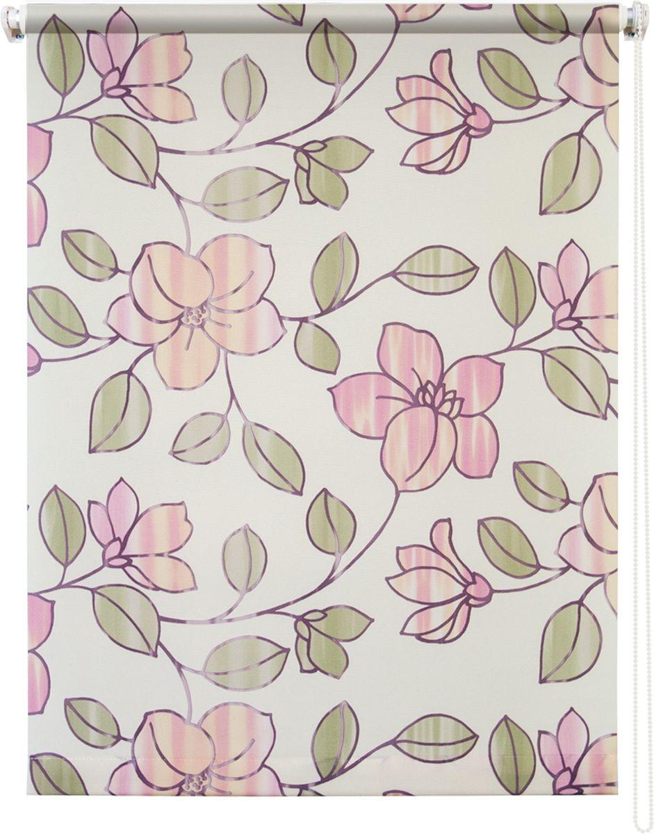 Штора рулонная Уют Камелия, цвет: бежевый, розовый, 90 х 175 см62.РШТО.8954.090х175Штора рулонная Уют Камелия выполнена из прочного полиэстера с обработкой специальным составом, отталкивающим пыль. Ткань не выцветает, обладает отличной цветоустойчивостью и хорошей светонепроницаемостью. Изделие оформлено красивым цветочным рисунком, отлично подойдет для спальни, кухни, гостиной. Штора закрывает не весь оконный проем, а непосредственно само стекло и может фиксироваться в любом положении. Она быстро убирается и надежно защищает от посторонних взглядов. Компактность помогает сэкономить пространство. Универсальная конструкция позволяет крепить штору на раму без сверления, также можно монтировать на стену, потолок, створки, в проем, ниши, на деревянные или пластиковые рамы. В комплект входят регулируемые установочные кронштейны и набор для боковой фиксации шторы. Возможна установка с управлением цепочкой как справа, так и слева. Изделие при желании можно самостоятельно уменьшить. Такая штора станет прекрасным элементом декора окна и гармонично...