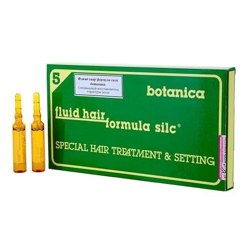 WT-Methode Флюид Хаир Формула Силк Ботаника для волос Fluid hair formula silc botanica 12х10 мл2980052Этот препарат способен вернуть волосам силу, упругость, эластичность и блеск. Особенно подходит для ухода за повреждёнными, пористыми, окрашенными и подвергавшимися химической завивке волосами, а также перед самой процедурой окрашивания волос или химической завивики в качестве предварительного лечения. После применения этого препарата волосы становятся более гладкими и блестящими, а их цвет – более ярким и насыщенным. Помимо этого, решается проблема накопления статического электричества в волосах.