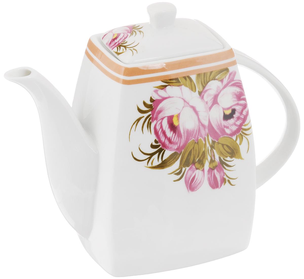 Чайник заварочный Loraine, 1 л. 2117321173Заварочный чайник Loraine изготовлен из высококачественной керамики и оформлен красочным изображением, которое придает чайнику особый шарм. Изделие удобно в использовании и понравится каждому. Такой чайник поможет вам в приготовлении вкусного и ароматного чая, а также станет украшением вашей кухни. Чайник упакован в подарочную коробку. Размер чайника (по верхнему краю): 8,3 см х 6,5 см. Размер дна: 11 см х 9 см. Высота чайника (без учета крышки): 15,5 см. Высота чайника (с учетом крышки): 18,5 см.
