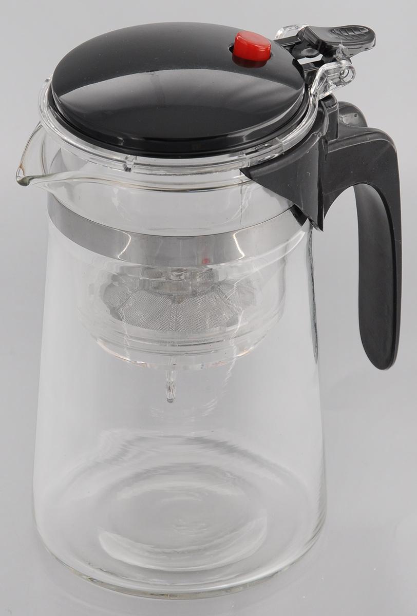 Чайник заварочный Mayer & Boch, с фильтром и клапаном, 750 млVT-1520(SR)Чайник заварочный Mayer & Boch изготовлен из высококачественного термостойкого стекла и пластика. Заварочный чайник удобен в использовании, любой человек, даже не имеющий большого опыта в заваривании чая, сможет заварить в нем чай до правильной консистенции без риска перезаварить чай. При нажатии на кнопку заваренный настой из фильтра переливается в нижнюю часть чайника, процесс заварки останавливается, а чаинки остаются в фильтре.Диаметр чайника (по верхнему краю): 7 см.Высота чайника: 16,5 см.