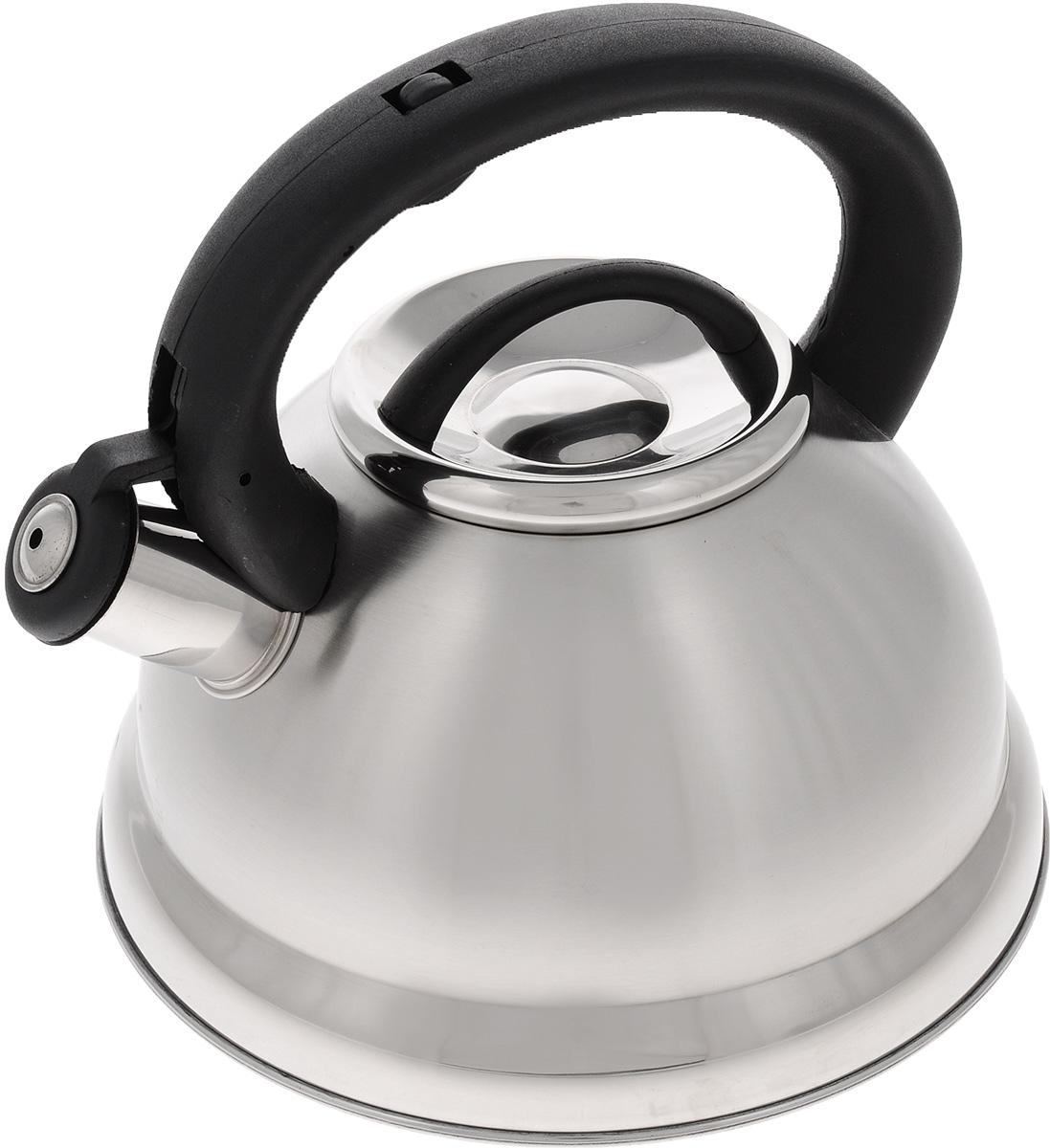 Чайник Mayer & Boch, со свистком, 2,8 л. 2163521635Чайник Mayer & Boch выполнен из высококачественной нержавеющей стали, что делает его весьма гигиеничным и устойчивым к износу при длительном использовании. Носик чайника оснащен откидным свистком, звуковой сигнал которого подскажет, когда закипит вода. Свисток открывается нажатием кнопки на ручке. Фиксированная ручка, изготовленная из пластика, делает использование чайника очень удобным и безопасным. Поверхность чайника гладкая, что облегчает уход за ним. Эстетичный и функциональный, такой чайник будет оригинально смотреться в любом интерьере. Чайник пригоден для всех типов плит, включая индукционные. Можно мыть в посудомоечной машине. Высота чайника (без учета ручки и крышки): 12 см. Высота чайника (с учетом ручки и крышки): 21 см. Диаметр чайника (по верхнему краю): 10 см.
