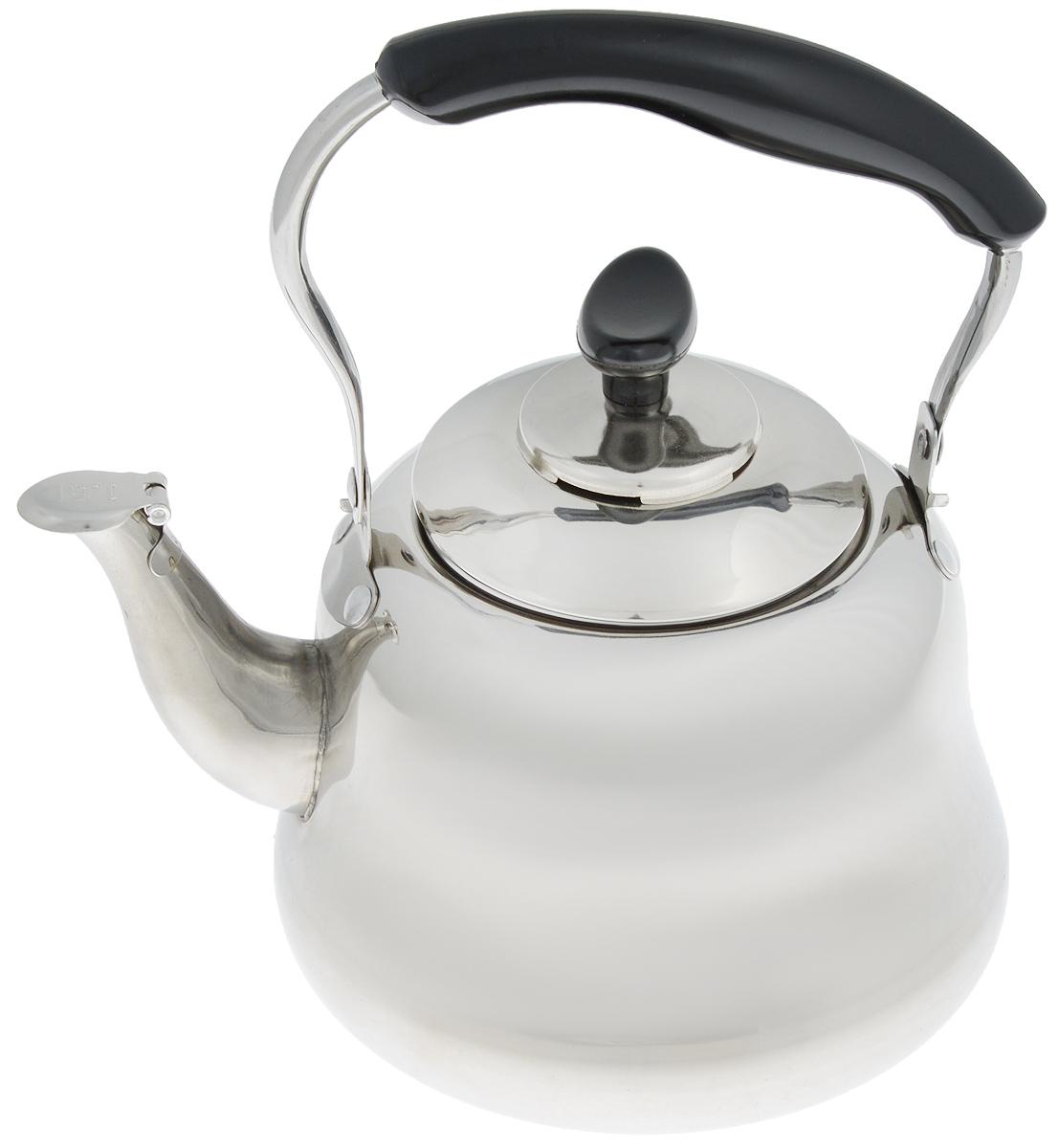Чайник Mayer & Boch, со свистком и фильтром, 1,5 л. 2351223512Чайник Mayer & Boch изготовлен из высококачественной нержавеющей стали. Он оснащен подвижной ручкой из стали с бакелитовой накладкой, что делает использование чайника очень удобным и безопасным. Крышка снабжена свистком, позволяя контролировать процесс подогрева или кипячения воды. Также имеется фильтр из нержавеющей стали. Эстетичный и функциональный чайник будет оригинально смотреться в любом интерьере. Подходит для электрических, газовых и стеклокерамических плит. Можно мыть в посудомоечной машине. Высота чайника (без учета ручки и крышки): 11 см. Высота чайника (с учетом ручки и крышки): 21 см. Диаметр чайника (по верхнему краю): 9 см.
