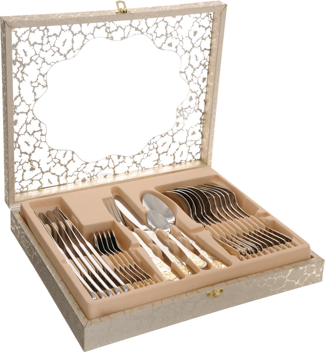 Набор столовых приборов Mayer&Boch, 24 предмета. 2335223352Набор Mayer & Boch состоит из 24 предметов: 6 столовых ножей, 6 столовых ложек, 6 вилок и 6 чайных ложек. Приборы выполнены из высококачественной нержавеющей стали 18/10. Ручки приборов украшены золотистым рельефным рисунком и зеркальной полировкой. Прекрасное сочетание контрастного дизайна и удобство использования изделий придется по душе каждому. Набор столовых приборов Mayer & Boch подойдет для сервировки стола как дома, так и на даче и всегда будет важной частью трапезы, а также станет замечательным подарком. Длина ножа: 23 см. Длина лезвия ножа: 6,5 см. Длина столовой ложки: 20,5 см. Размер рабочей части столовой ложки: 6,5 х 4,5 см. Длина вилки: 20,5 см. Размер рабочей части вилки: 5 х 2,5 см. Длина чайной ложки: 14,5 см. Размер рабочей части чайной ложки: 4,5 х 3 см.