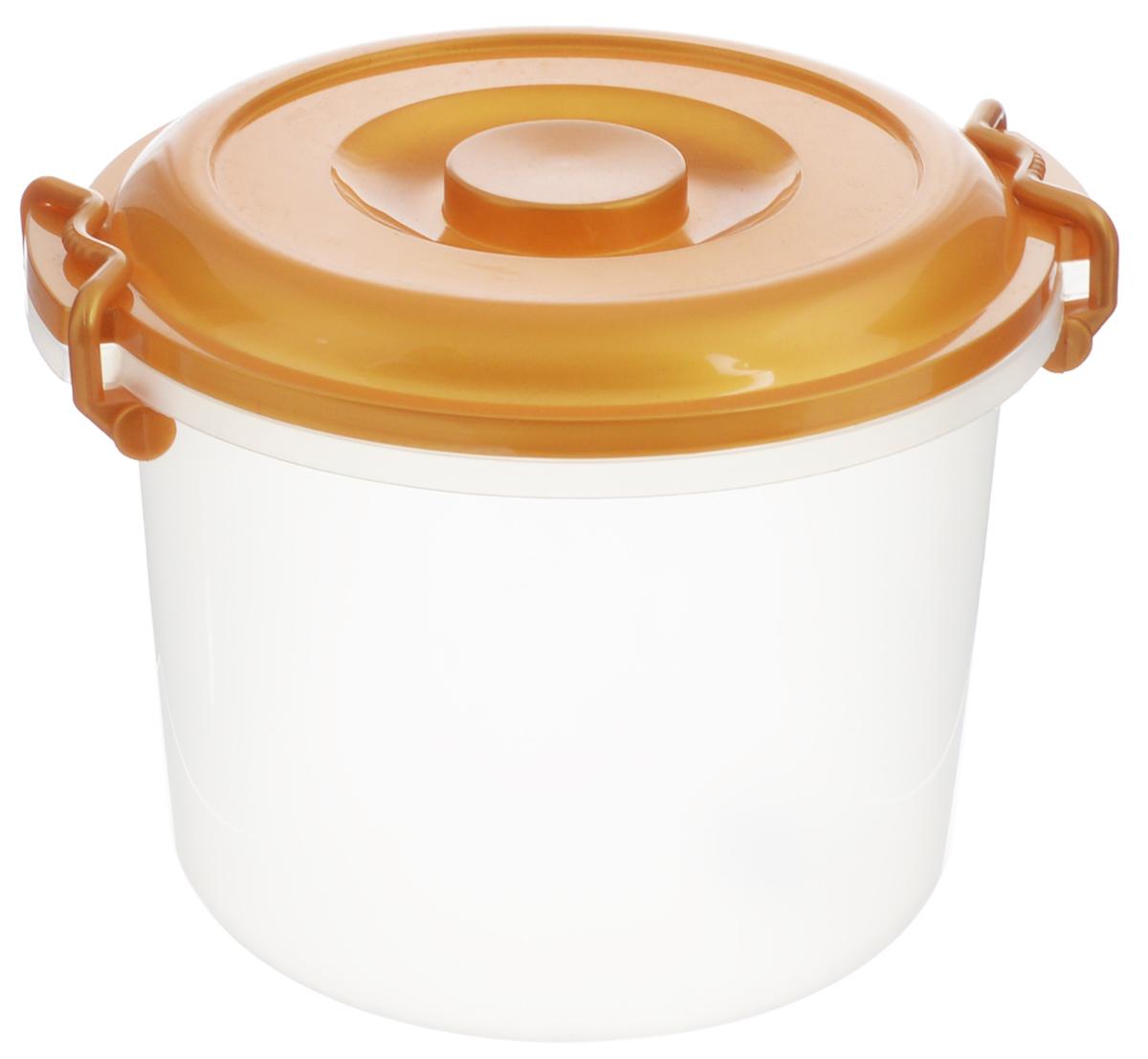 Контейнер Альтернатива, цвет: золотистый, прозрачный, 8 лM098_золотистыйКонтейнер Альтернатива изготовлен из высококачественного пищевого пластика. Изделие оснащено крышкой и ручками, которые плотно закрывают контейнер. Также на крышке имеется ручка для удобной переноски. Емкость предназначена для хранения различных бытовых вещей и продуктов. Такой контейнер очень функционален и всегда пригодится на кухне. Диаметр контейнера (по верхнему краю): 25 см. Высота контейнера (без учета крышки): 21 см. Объем: 8 л.
