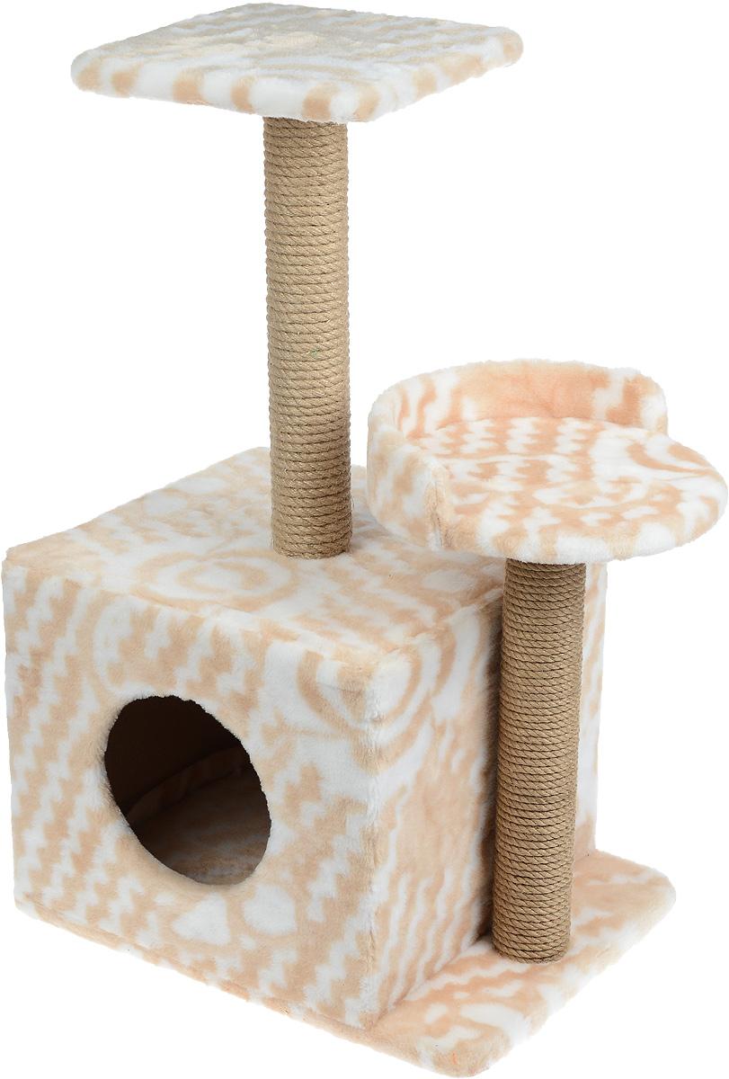 Игровой комплекс для кошек Меридиан, с домиком и когтеточкой, цвет: бежевый, белый, 35 х 45 х 75 смД130 ЦвИгровой комплекс для кошек Меридиан выполнен из высококачественного ДВП и ДСП и обтянут искусственным мехом. Изделие предназначено для кошек. Ваш домашний питомец будет с удовольствием точить когти о специальные столбики, изготовленные из джута. А отдохнуть он сможет либо на полках разной высоты, либо в расположенном внизу домике. Общий размер: 35 х 45 х 75 см. Размер домика: 46 х 37 х 33 см. Высота полок (от пола): 74 см, 45 см. Размер полок: 27 х 27 см, 26 х 26 см.