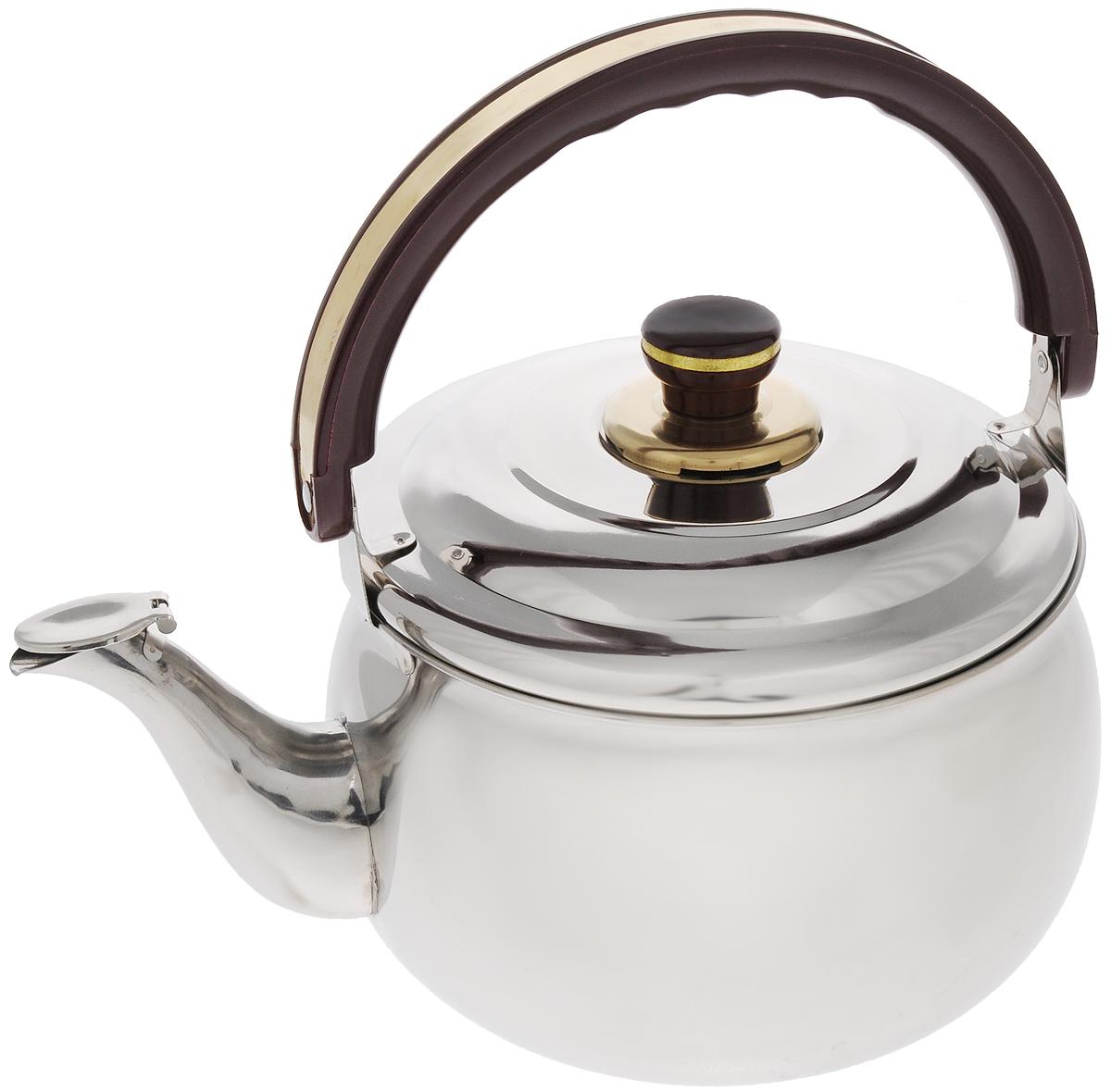 Чайник Mayer & Boch, со свистком, 5 л. 77587758Чайник Mayer & Boch изготовлен из высококачественной нержавеющей стали с зеркальной полировкой. Крышка чайника оснащена свистком, что позволит контролировать процесс подогрева или кипячения воды. Подвижная бакелитовая ручка имеет эргономичную форму, обеспечивая дополнительное удобство при разлитии напитка. Широкое верхнее отверстие позволит удобно налить воду. Чайник подходит для электрических, газовых, стеклокерамических и индукционных плит. Можно мыть в посудомоечной машине. Диаметр чайника по верхнему краю: 20,5 см. Диаметр основания: 16,5 см. Высота чайника (без учета ручки и крышки): 13,5 см. Высота чайника (с учетом ручки и крышки): 28,5 см.