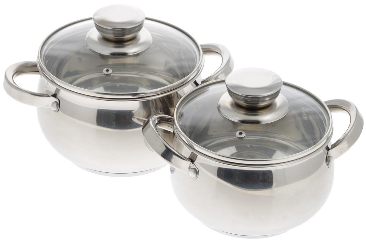 Набор посуды Mayer & Boch, 4 предмета. 2515325153Набор посуды Mayer & Boch включает 2 кастрюли и 2 крышки. Изделия выполнены из высококачественной нержавеющей стали 18/10 с зеркальной полировкой. Кастрюли имеют многослойное термоаккумулирующее дно с прослойкой из алюминия, которое обеспечивает равномерное распределение тепла, быстрый подогрев и поддержание тепла. Кастрюли предназначены для здорового и экологичного приготовления пищи. Готовить можно с небольшим количеством воды и жира, продукты сохранят больше полезных веществ, витаминов и минералов. Прозрачные крышки, выполненные из термостойкого стекла, позволят следить за процессом приготовления пищи. Ручки из нержавеющей стали надежно крепятся к корпусу. Кастрюли подходят для всех видов плит, включая индукционные, и пригодны для мытья в посудомоечной машине. Внутренний диаметр (по верхнему краю): 16 см, 18 см. Объем кастрюль: 2,1 л, 2,9 л. Высота стенок кастрюль: 10,5 см, 11,5 см. Ширина кастрюль (с учетом ручек): 24 см, 27 см. ...