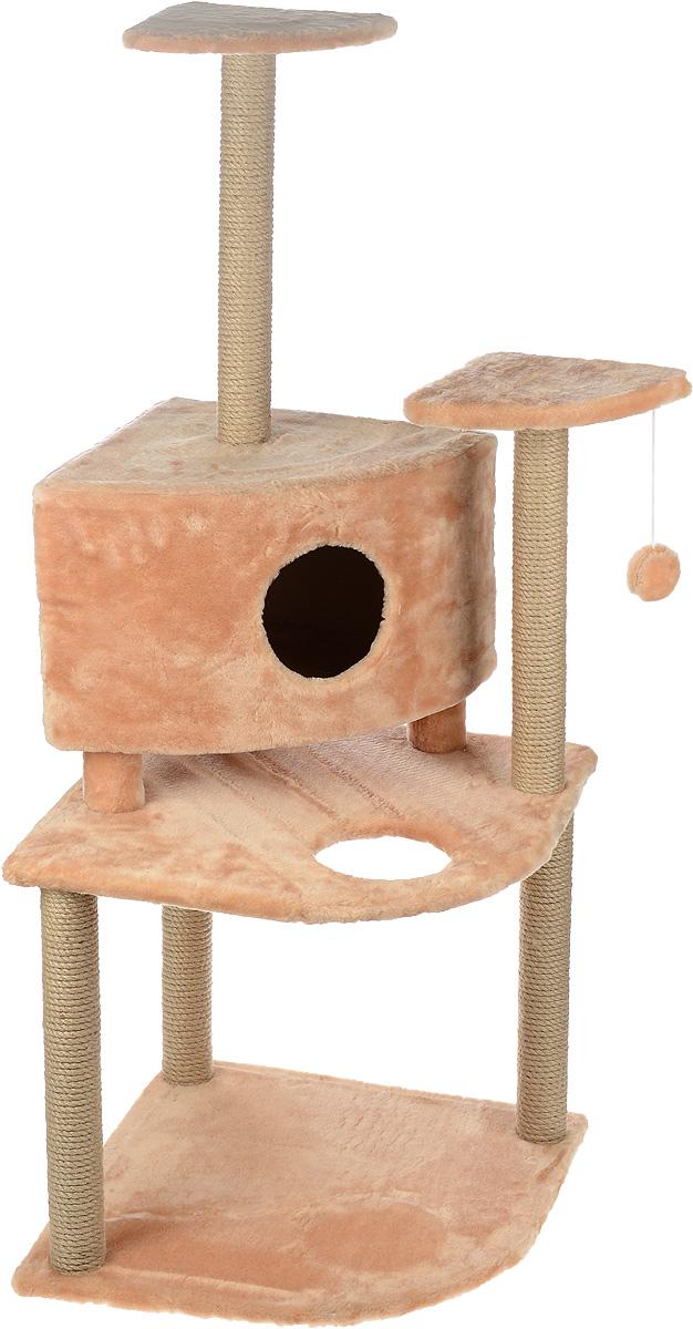 Игровой комплекс для кошек Меридиан, с домиком и когтеточкой, цвет: светло-коричневый, бежевый, 55 х 55 х 140 смД441 СКИгровой комплекс для кошек Меридиан выполнен из высококачественного ДВП и ДСП и обтянут искусственным мехом. Изделие предназначено для кошек. Комплекс имеет 3 яруса. Ваш домашний питомец будет с удовольствием точить когти о специальные столбики, изготовленные из джута. А отдохнуть он сможет либо на полках, либо в домике. На одной из полок расположена игрушка, которая еще сильнее привлечет внимание питомца. Общий размер: 55 х 55 х 140 см. Размер домика: 42 х 42 х 31 см. Размер полок: 26 х 26 см. Размер нижнего яруса: 55 х 55 см.